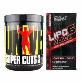 Super Cuts 3 de Univesal x130 + Lipo 6 Black de Nutrex x60
