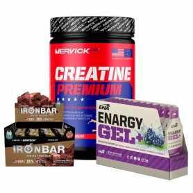 Combo Ciclismo o Running: Creatina Premium Mervick + Geles Ena con Cafeína + Iron Bar