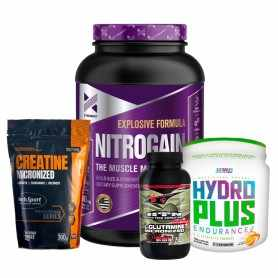 Creatina 300 grs Hoch Sport + Nitro Gain 1.5 kg Xtrenght + Glutamina 150 grs HTN + Hydro Plus Endurance Star
