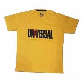 Remera con logo UNIVERSAL talle XL L M (Amarilla)