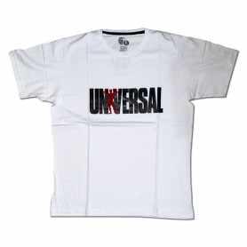 Remera con logo UNIVERSAL talle XL L M (Blanca)