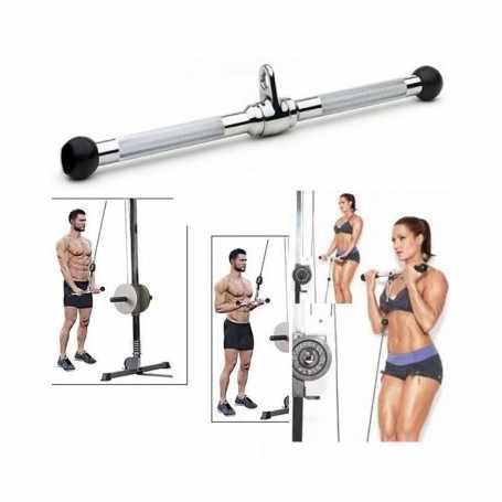 Barra Recta Para Triceps Centro Giratorio Topes Goma